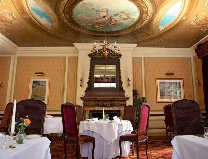 Cringletie Sutherland Restaurant With Ornate Painted Ceiling